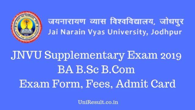 JNVU Supplementary Exam 2019