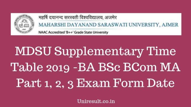 MDSU Supplementary Time Table 2019