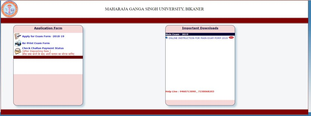 MGSU Exam Form 2019