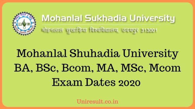 MLSU Exam date sheet 2020