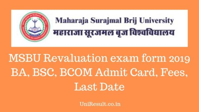 MSBU Revaluation exam form 2019