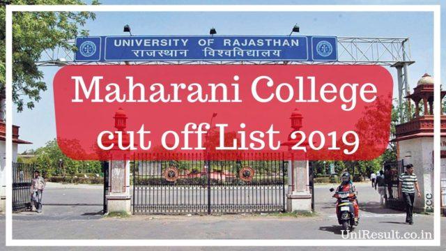 Maharani College cut off List 2019