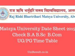 Matsya University Date Sheet 2019