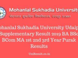 Mohanlal Sukhadia University Udaipur Supplementary Result 2019