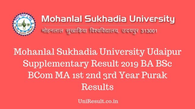 Mohanlal Sukhadia University Udaipur Supplementary Result 2019