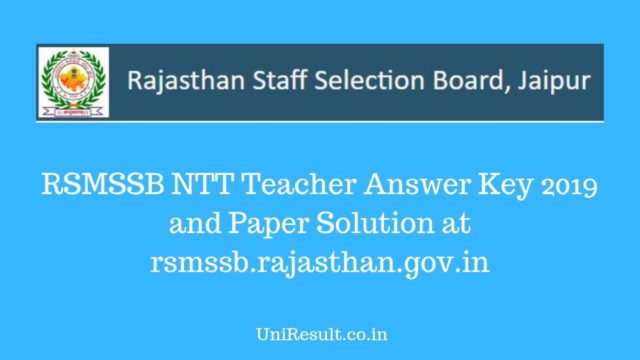 RSMSSB NTT Teacher Answer Key 2019