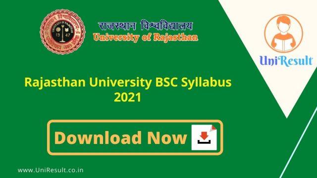 Rajasthan University BSC Syllabus 2021