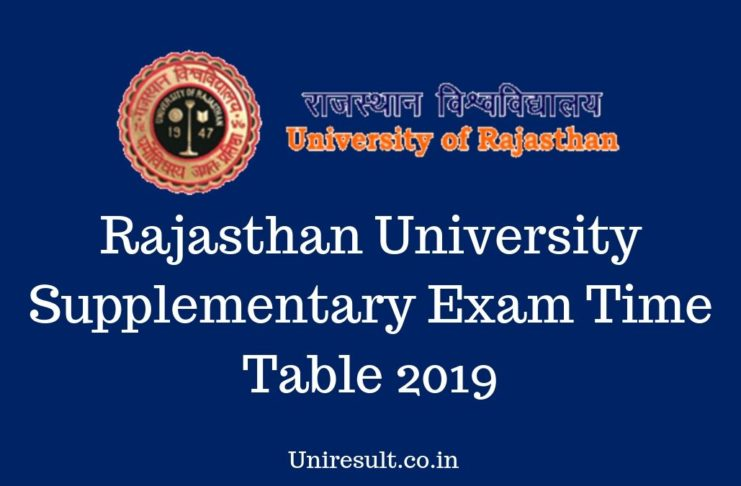 Rajasthan University Supplementary Exam Time Table 2019