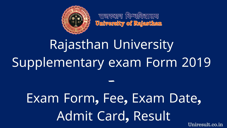 Rajasthan University Supplementary Exam Form 2019 - Exam Form, Fee
