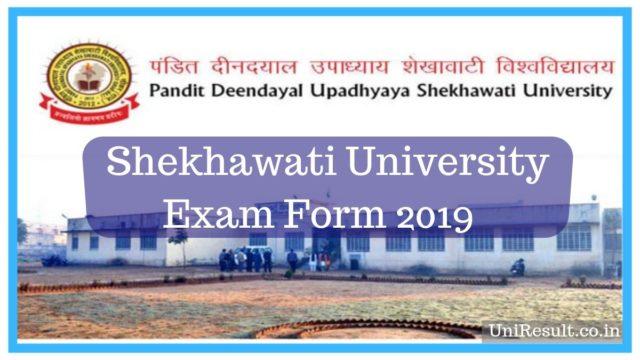 Shekhawati University Exam Form 2019