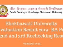 Shekhawati University BA Revaluation Result 2019