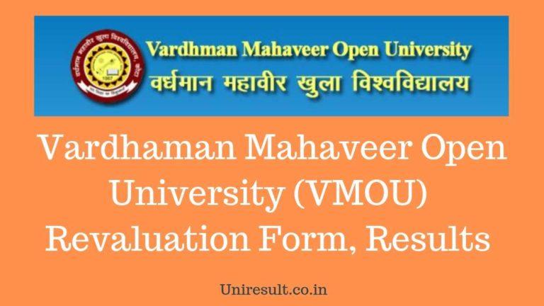 Vardhaman Mahaveer Open University (VMOU) Revaluation Form, Results in 2019