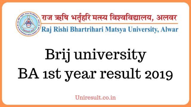 Brij university BA 1st year result 2019