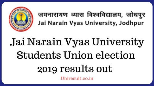 Jai Narain Vyas University Students Union election results out - Jnvu Election result 2019
