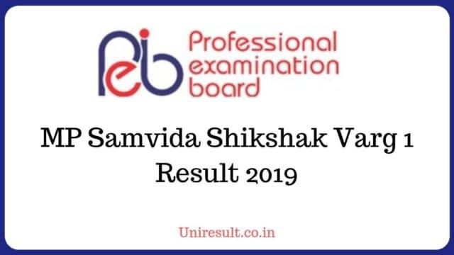 MP Samvida Shikshak Varg 1 Result 2019