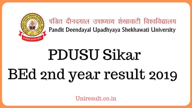 PDU Sikar BEd 2nd year result 2019 name wise