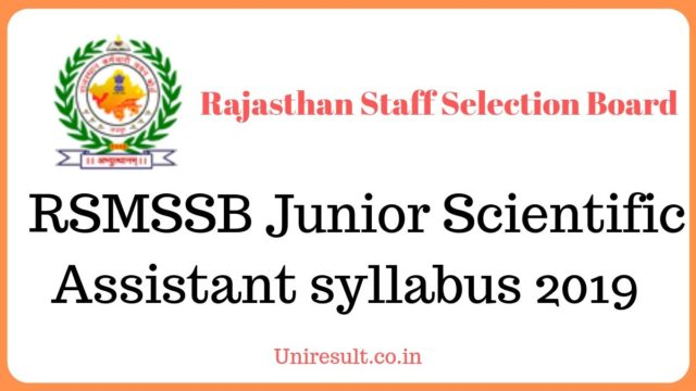 RSMSSB Junior Scientific Assistant syllabus 2019 download in Hindi pdf
