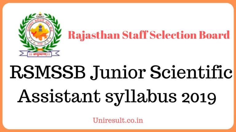 RSMSSB Junior Scientific Assistant syllabus 2019 download in Hindi pdf
