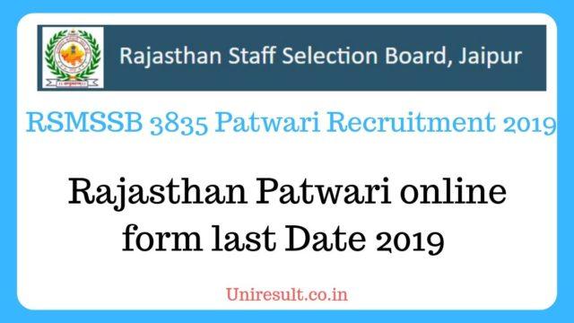 Rajasthan Patwari online form last Date 2019