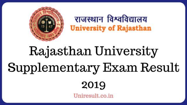 Rajasthan University Supplementary Exam Result 2019