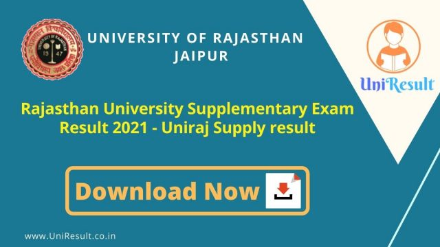 Rajasthan University Supplementary Exam Result 2021 - Uniraj Supply result