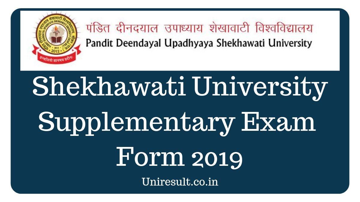 (PDUSU) Shekhawati University Supplementary Exam Form 2019 – Exam Form, Fee, Admit Card, Exam Date, Result