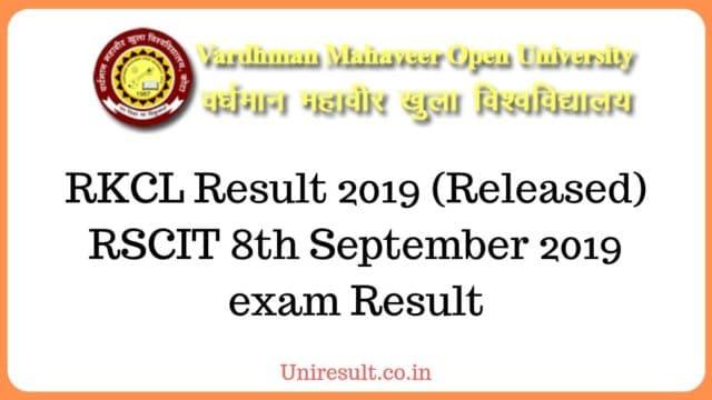 RSCIT 8th September 2019 exam Result