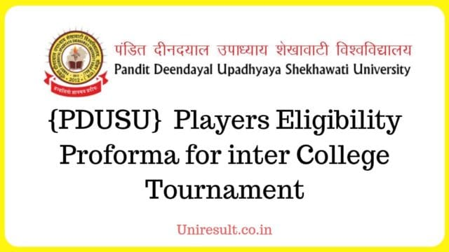 {PDUSU} Shekhawati University Players Eligibility Proforma for inter College Tournament