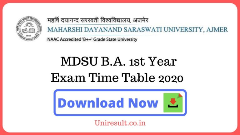MDSU BA 1st Year Exam Time Table 2020 pdf Download – Ajmer University Date sheet