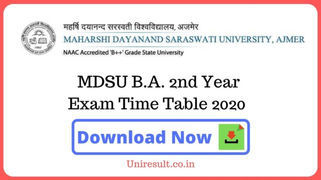 MDSU BA 2nd Year Exam Time Table 2020
