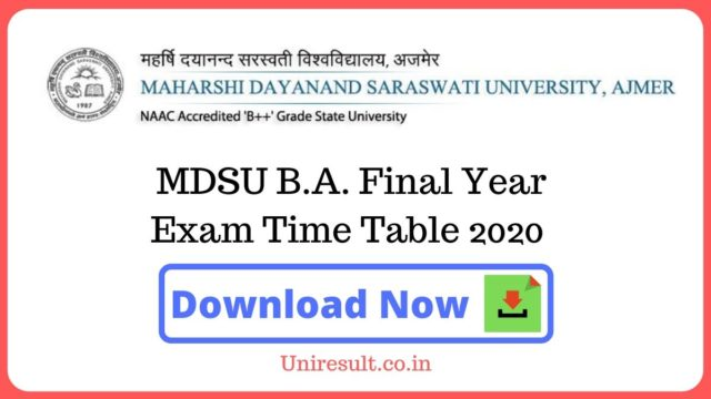 MDSU BA Final Year Exam Time Table 2020