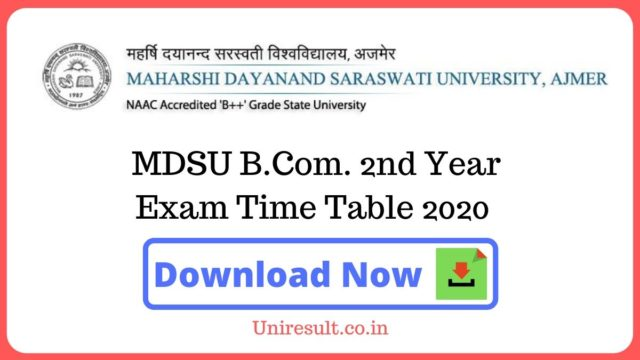 MDSU BCom 1st Year Exam Time Table 2020