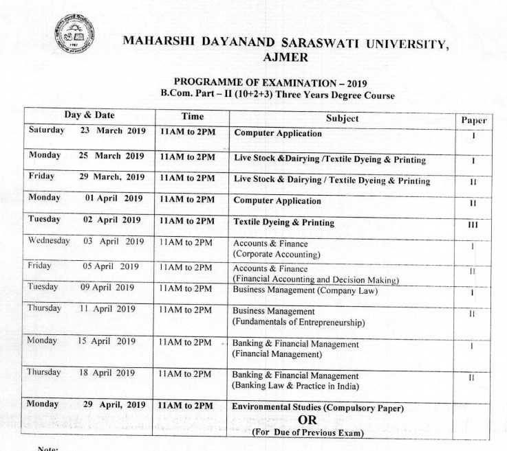 MDSU BCom 2nd year Last year exam time table 2019