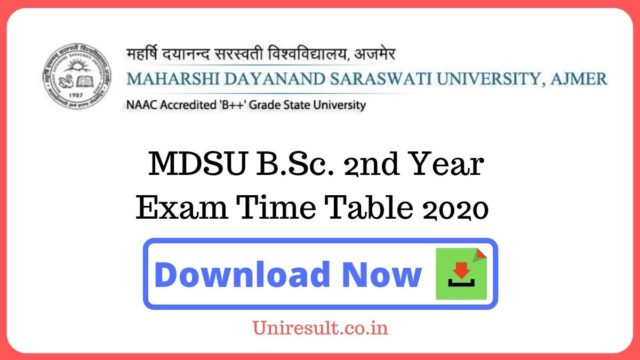 MDSU BSc 2nd Year Exam Time Table 2020