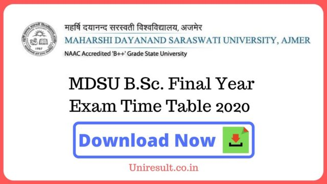 MDSU BSc Final Year Exam Time Table 2020