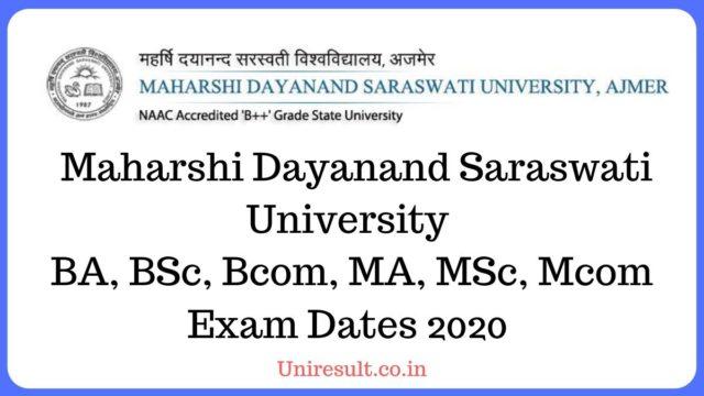 MDSU Exam date sheet 2020
