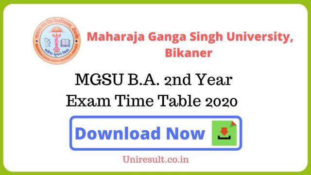 MGSU BA 2nd Year Exam Time Table 2020