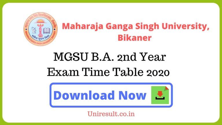 MGSU BA2nd Year Exam Time Table 2020 pdf Download – Bikaner University Date sheet
