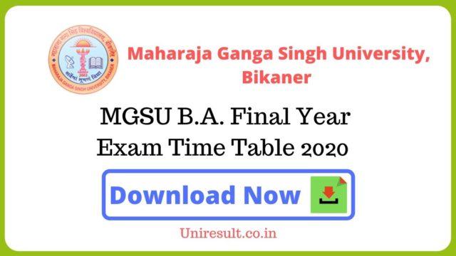 MGSU BA Final Year Exam Time Table 2020