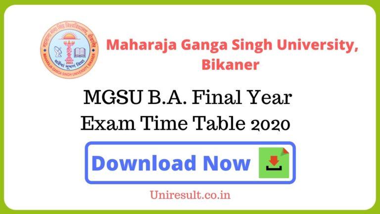 MGSU BAFinal Year Exam Time Table 2020 pdf Download – Bikaner University Date sheet
