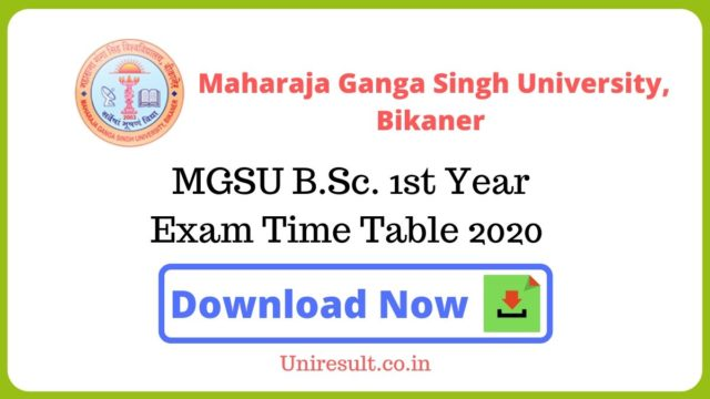 MGSU BSc 1st Year Exam Time Table 2020