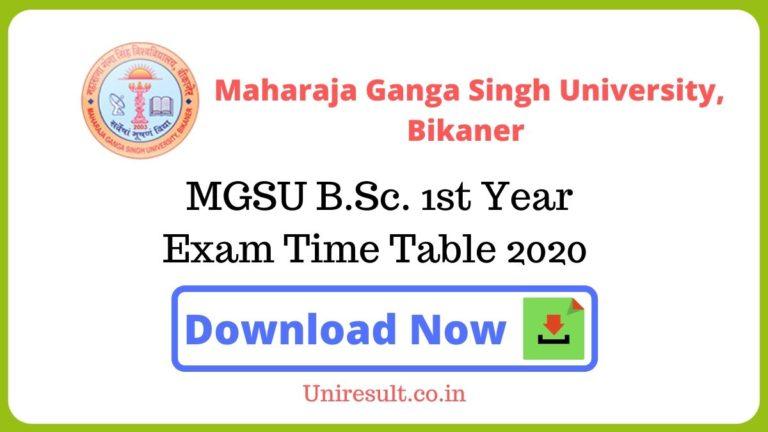 MGSU BA1st Year Exam Time Table 2020 pdf Download – Bikaner University Date sheet