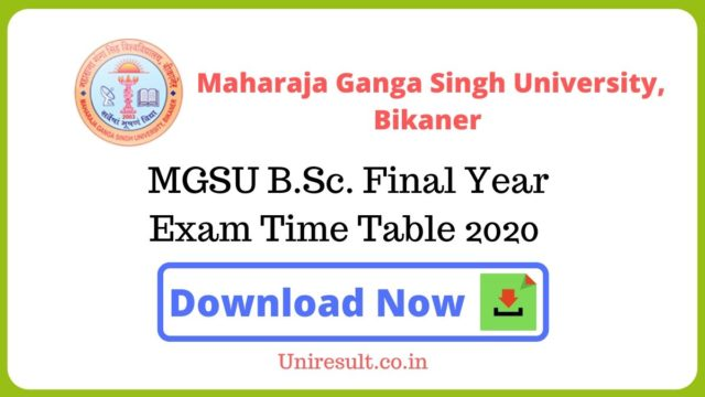 MGSU BSc Final Year Exam Time Table 2020
