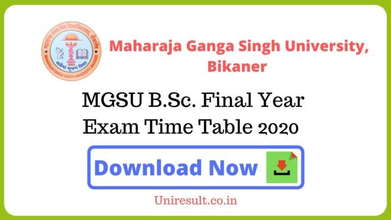 MGSU BScFinal Year Exam Time Table 2020 pdf Download – Bikaner University Date sheet