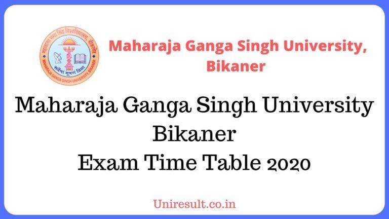 MGSU Exam Time Table 2020 – Maharaja Ganga Singh University Bikaner UG/PG Main Exam Date Sheet