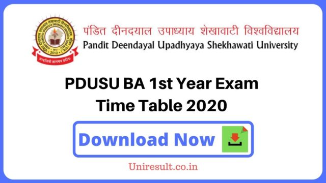 PDUSU BA First Year Exam Time Table 2020