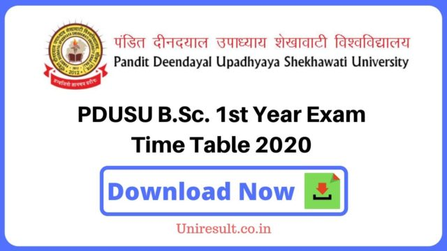 PDUSU BSc 1st Year Exam Time Table 2020