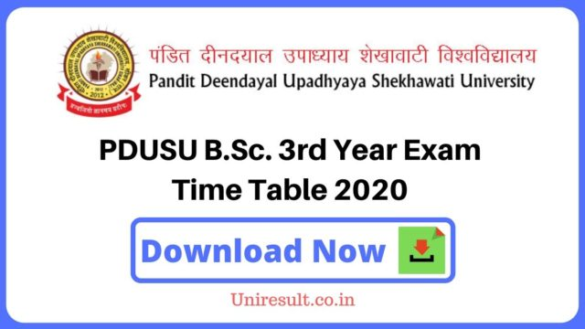 PDUSU BSc 3rd Year Exam Time Table 2020