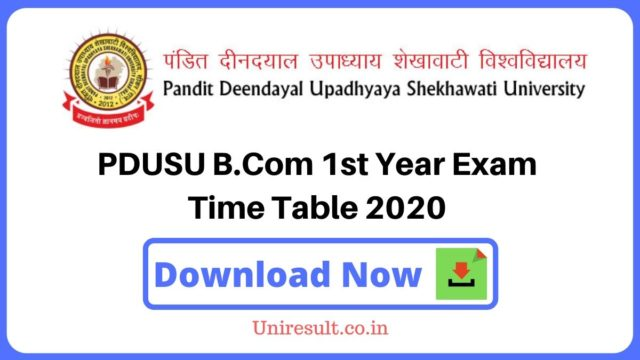 PDUSU Bcom 1st Year Exam Time Table 2020