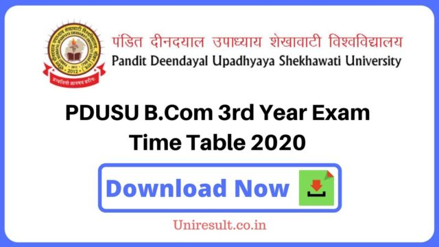 PDUSU Bcom3rd Year Exam Time Table 2020